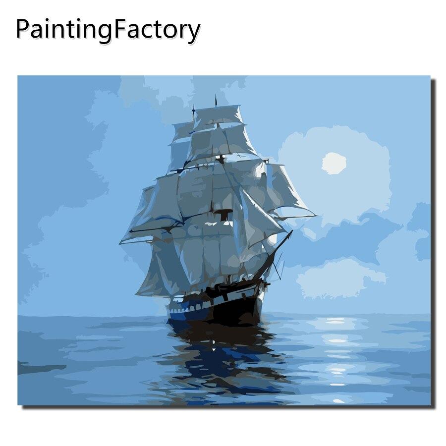 Barco de vela DIY pintura por números dibujo por números Kits pintura sobre lona para la imagen casera de la pared 40x50 VA-0260