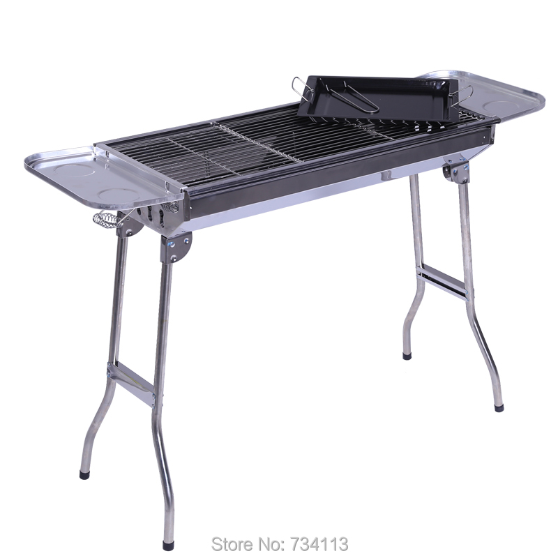 bbq portable outdoor household stainless steel folding barbecue grill rack large charcoal grillpicnic stoves - Stainless Steel Charcoal Grill