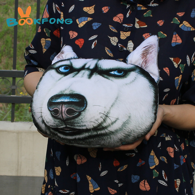 BOOKFONG New 3D 26cm*25cm Samoyed Husky Dog Car Pillow Plush Doll Toy Stuffed Animal Pillow Home Sofa Decorative Birthday Gift