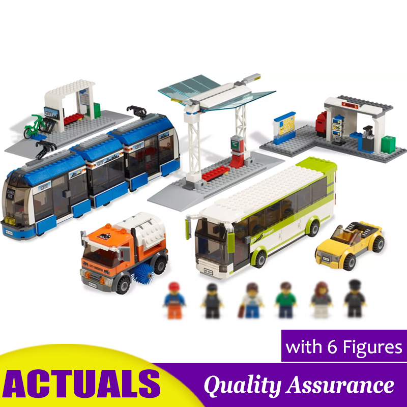 Public Transport Station 02023 Compatible 8404 City Building Blocks Tram Bus Car Model Bricks Toy Christmas