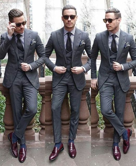 Latest Coat Pant Designs Grey Wedding Suit for Men Simple High ...