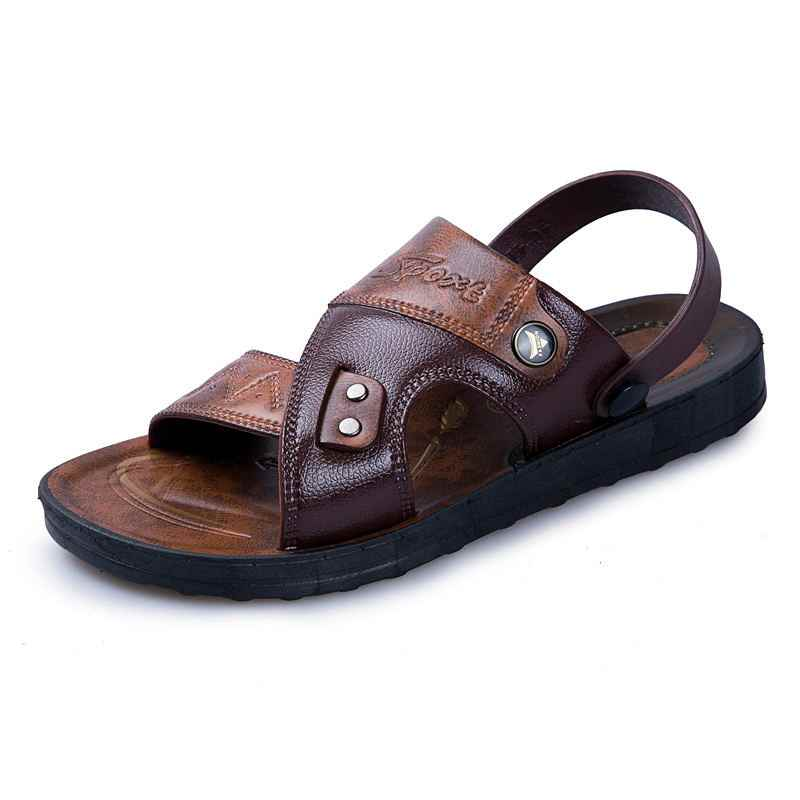 1b6189f67276 ... MIUBU Leather Men s Sandals Fashion Leather Male Sandals Summer Men  Shoes Mens Beach Sandals 2019 Men s ...