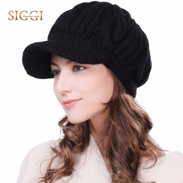28365bf8e936b FANCET Women Knitted Newsboy Cap Beanie Winter Hat 100% Merino Wool Autumn  for Girl Visor Thick Cabbie Duckbill Caps 10120