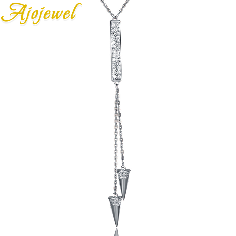 Ajojewel New Design Triangular Pendant Tassel Necklace Full Of Clear Zircon Long Sweater Necklace 925 Sterling Silver Mother Gif a suit of tassel faux zircon necklace and earrings