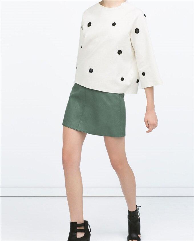 2398/051 Fashon 2015 New ZA Faux Leather High Waist Skirts Skirt Office Ladies A line Elegant Trumpet Flare Mini skirt