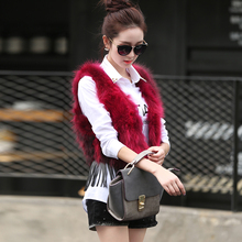 Brand Women Fashion Sleeveless  Real Fox Fur Vest Coat Ladies Short Design Genuine Leather Patchwork Raccoon Dog Fur Outerwear