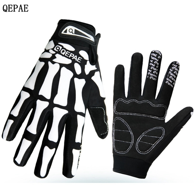 Qepae Black White Skeleton Bike Glove Bicycle Cycling Long Finger