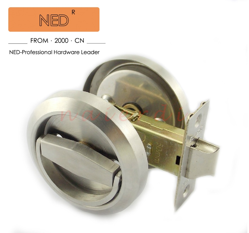NED Stainless Steel 304 Recessed Invisible Cup Handle/ Privacy/Hidden Door  Locks Cabinet Pull Handle Fire Proof Disk Ring Lock In Locks From Home ...