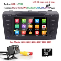 Wince 6.0 Car DVD Player Fit Mazda 3 GPS Navigation 2Din Steering Wheel 800*480 3G Radio Bluetooth DVB T Rearview CAM DAB+ TPMS