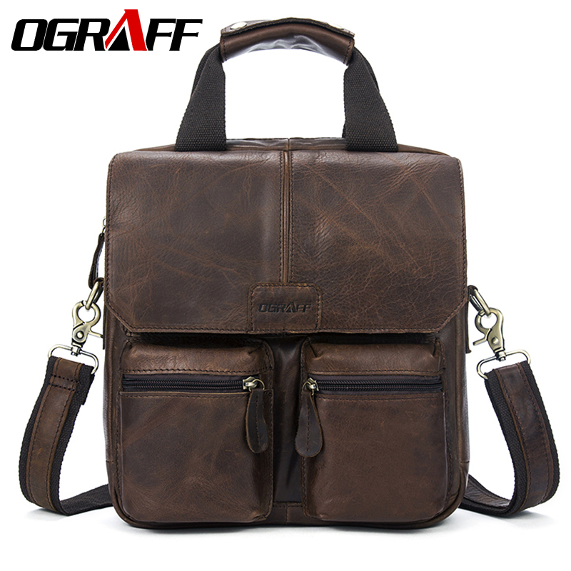 цены на OGRAFF Men bag male Handbag Messenger Bag Men Leather Handbags Male Genuine Leahter Bag Brand Designer Briefcase Shoulder Bag