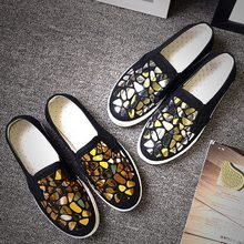 vertvie Spring Fashion Shoes Women Loafers Vulcanize Shoes Canvas Sequins Sneakers Ladies Shoes Slip On Breathable Shallow(China)