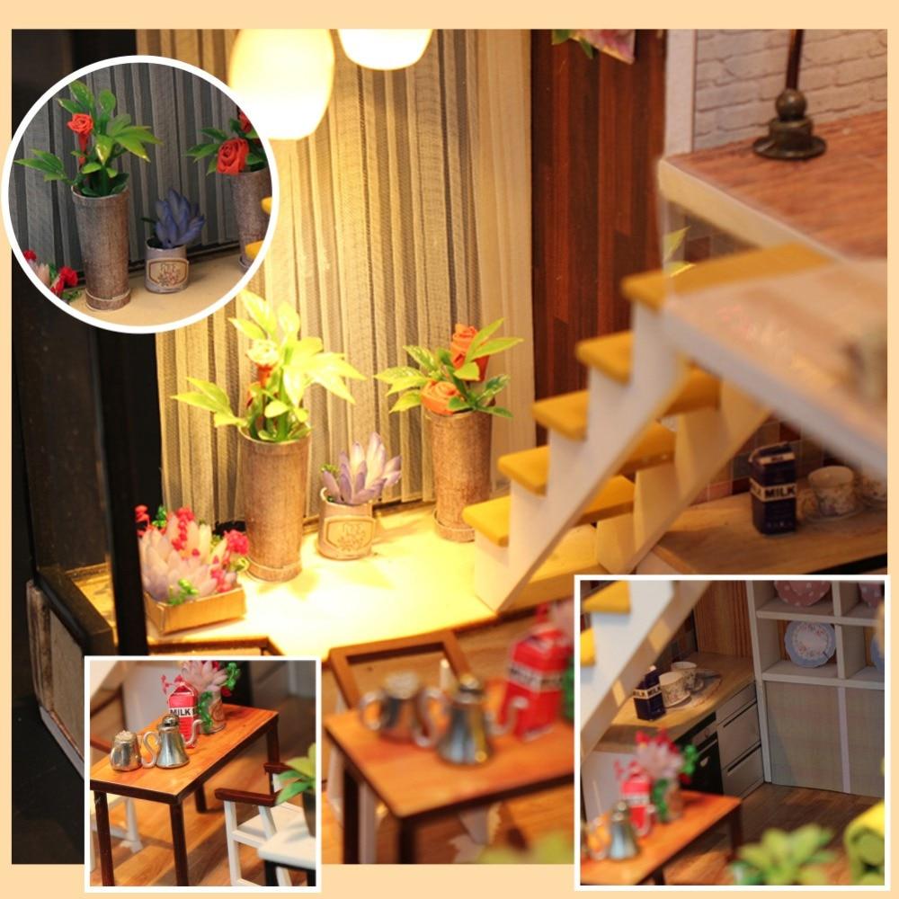 CUTEBEE DIY Doll Evi Mebelləri ilə Miniatür Kukla Evi Uşaqlar - Kuklalar və kuklalar üçün aksesuarlar - Fotoqrafiya 3