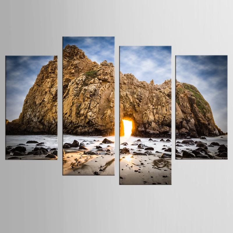 4 개 / 대 볼더 건물 해변 사진 인쇄 캔버스 캔버스 인쇄 거실 벽 장식