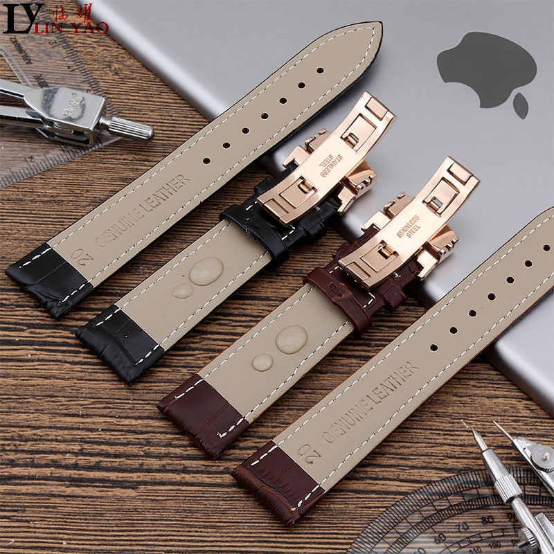 מתאים Seiko, CK, אזרח, רצועת שעון טיסו. חדשה שעונים צמיד חגורה צמיד אביזרי שעון עור אמיתי שחור.
