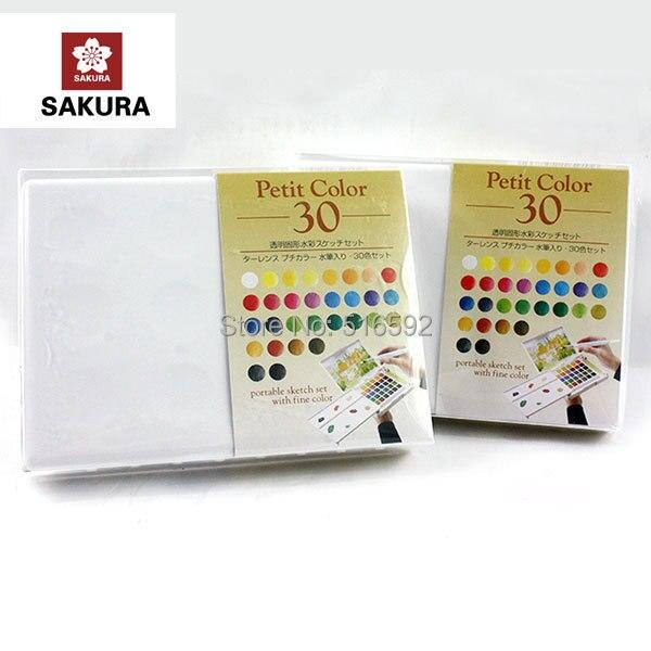 Sakura 30 couleurs aquarelle boîte de peinture, avec brosse à eau, solide petit aquarelle peinture extérieure, portable croquis avec une couleur fine