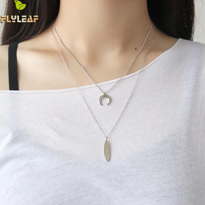 Flyleaf 925 Sterling Silver Moon Strip Necklaces Pendants For Women INS Simple Student Girl Gift Jewelry in Necklaces from Jewelry Accessories