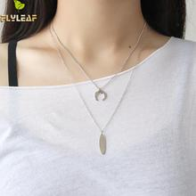 Flyleaf 925 Sterling Silver Moon Strip Necklaces & Pendants For Women INS Simple Student Girl Gift Jewelry