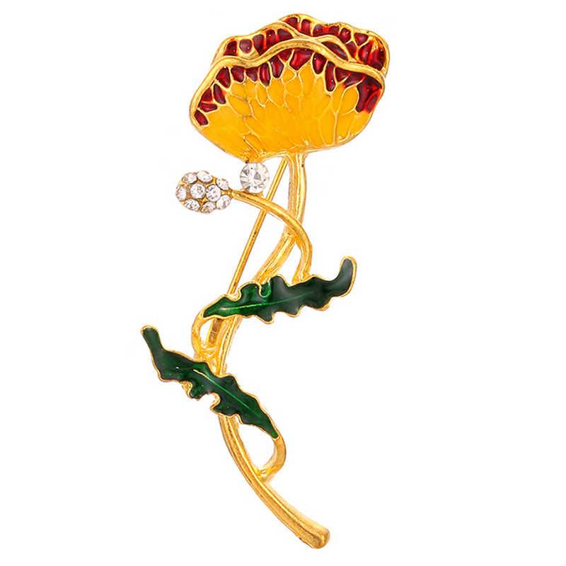 ニホンジカ鹿てんとう虫猫少女リーフピンエナメルクリスタルフラワー動物ブローチ女性ガールスカーフスーツの襟ラペルピン宝石類のギフト