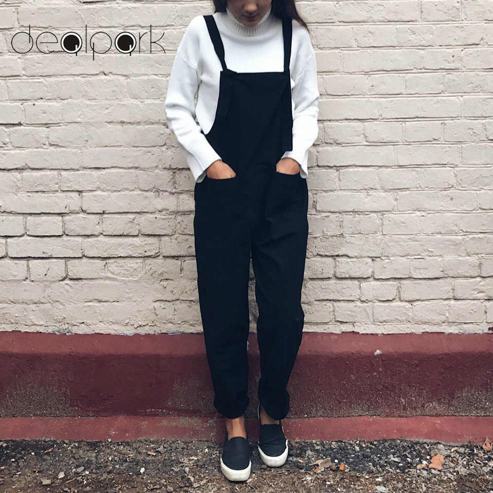 47092f94a4 Overalls for Women dungarees Oversize Rompers Women Jumpsuit Strap Solid  Tracksuit Harem Trousers Playsuit Plus Size