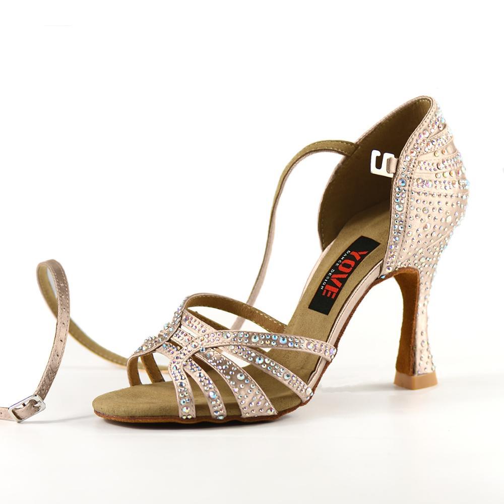 YOVE Style w1904-1 chaussures de danse Bachata/Salsa intérieur et extérieur chaussures de danse pour femmes avec strass - 2