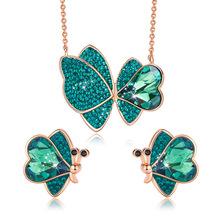 LuxJuly zestaw biżuterii damskiej ozdobione kryształy Swarovskiego motyl naszyjnik zestaw kolczyków zielony różowy zestaw biżuterii tanie tanio Miedzi SILVER Kobiety Naszyjnik kolczyki Zestawy biżuterii Moda TRENDY Zaręczyny S00170A