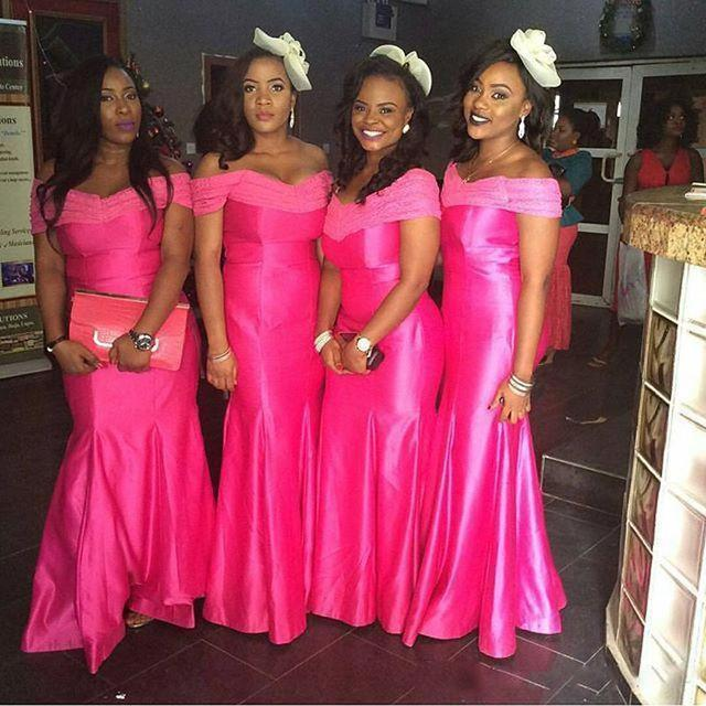 Cheap African Bridesmaid Dress Long Fuchsia Off Shoulder Mermaid Bridesmaid  Formal Gowns Dresses Custom Made Bridesmaid 3386b770ae87