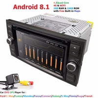 Car Multimedia Player Android 8.1 GPS 2 Din Car Radio Audio Auto For Ford/Mondeo/Focus/Transit/C MAX Bluetooth Rear View Camera