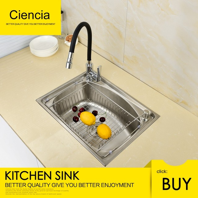 Undermount Single Bowl Kitchen Sink Outdoor Grill Insert Free Shipping Ciencia Stainless Steel Brushed Nickel With Faucet For