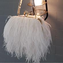Настоящие Страусиные волосы женская вечерняя сумочка модная маленькая цепочка сумка перо сумка Вечерние