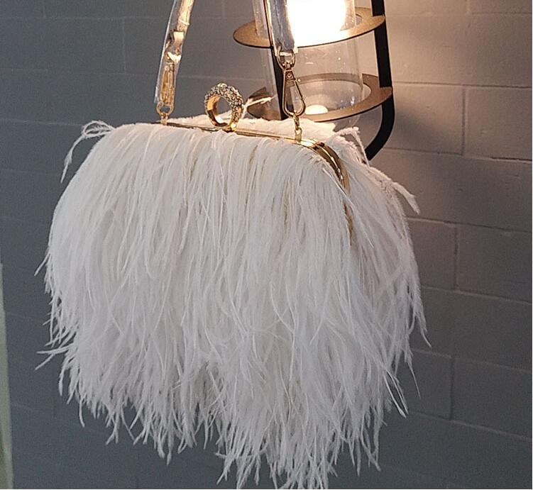 2018 real cabelo de avestruz noite saco da forma saco das mulheres bolsa pequena cadeia saco da pena do partido