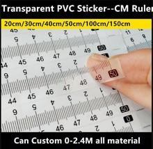 15 יח\חבילה סנטימטר שליט שקוף PVC מדבקת DIY עצמי דבק מדידת קלטת שליט מדבקה