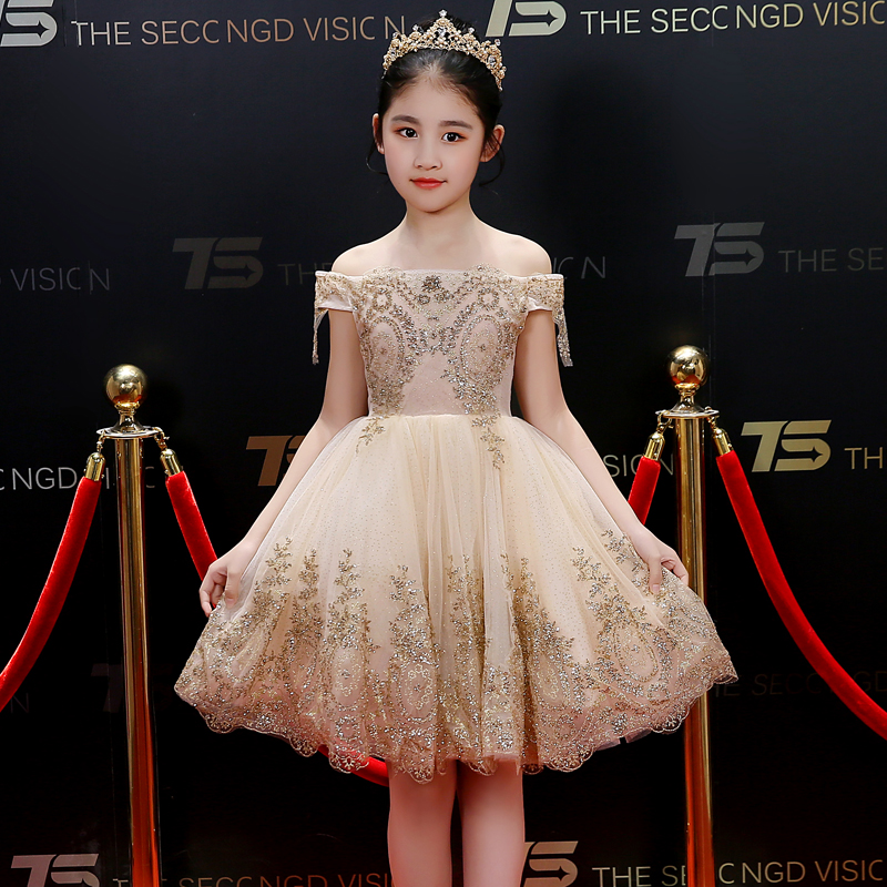 Gold Sequin Flower Girl Dresses Off the Shoulder Ball Gown Princess Prom Dress Bling Kids Pageant Dress for Birthday Party B240 все цены