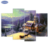 4 pcs/set,Diamond Embroidery,Scenic,House,horse,5D,Diamond Painting,Cross Stitch,3D,Diamond Mosaic,Decoration,Christmas gifts