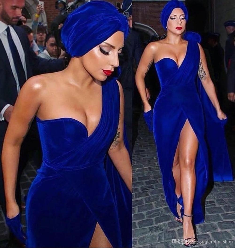 Royal Blue Evening Dresses 2019 One Shoulder High Slit Floor Length Velvet Formal Prom Dress Red Carpet Gowns Robe De Soiree