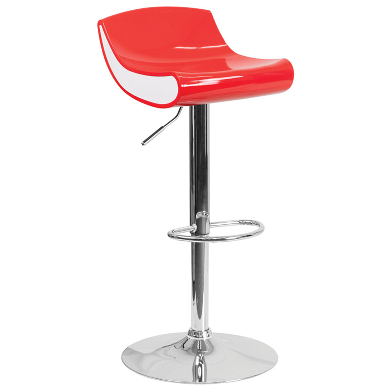 Flash Furniture Contemporary Red and White Adjustable Height Plastic Barstool with Chrome Base