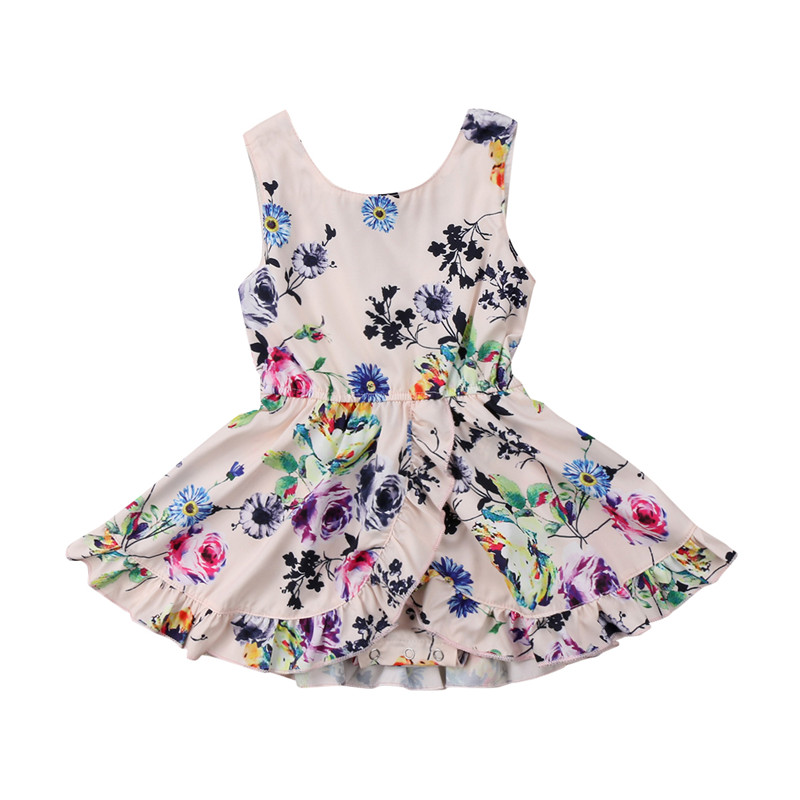 Toddler Baby Kid Girls Dress Summer Sleeve Floral Cotton Round Neck Girl Clothing Pageant Party Tutu Dresses Clothes 2016 girl s dress 2 8 age toddler girls clothes flower kid party dress girls chiffon fly sleeve red dress new year dress