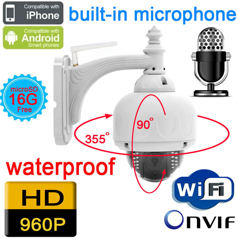 cctv ip camera 960P 1.3MP audio wireless outdoor ptz speed dome wifi waterproof onvif nvr home security system cam pan white jienuo ip camera 960p outdoor surveillance infrared cctv security system webcam waterproof video cam home p2p onvif 1280 960