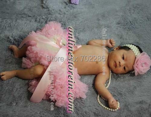 Marfil rosa Newborn baby girl tutus diadema flor de la gasa del bebé regalo de la ducha de dos piezas
