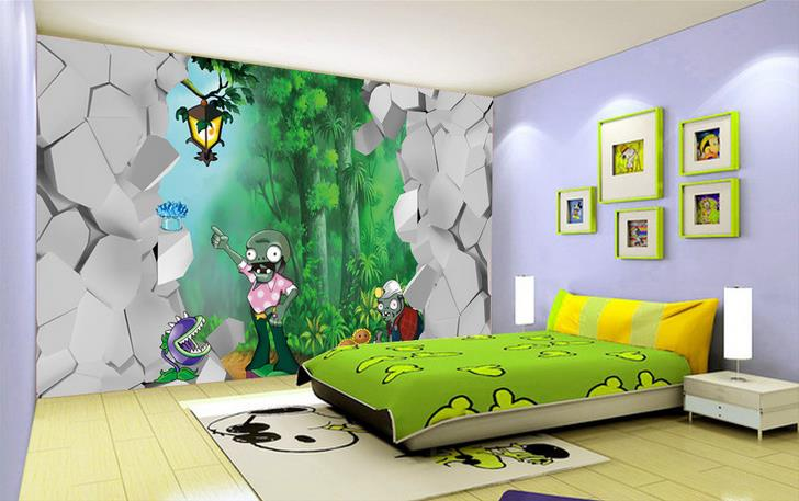 Aliexpress com   Buy 3d kids room wallpaper mural custom cartoon Plants vs   Zombies HD photo Non Woven sticker Painting TV back wallpaper for wall 3d  from. Aliexpress com   Buy 3d kids room wallpaper mural custom cartoon