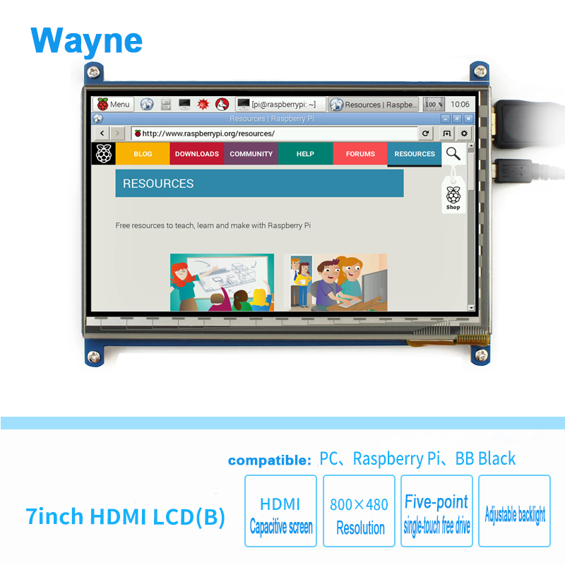 Raspberry Pi 7 inch LCD capacitive touch screen HD HDMI 800480 display for Raspberry Pi 3 generation B + BB black computer Win7