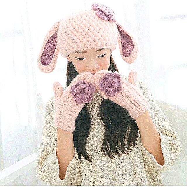 Симпатичные женская Шляпа и Перчатки Ручной Вязки Зима Теплая Шапка Перчатки Подарок