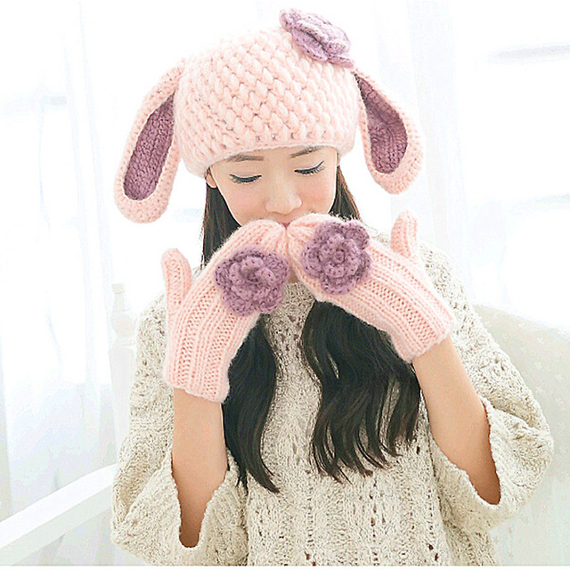 Cute Women's Hat & Glove Handmade Knitted Winter Warm Cap Gloves Gift