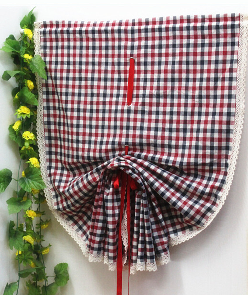 Ho how to tie balloon curtains - Cotton Linen Red Black Plaid Lace Edge Semi Shading Roman Curtain Adjustable Height Decorative Balloon Curtain