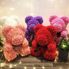 Дропшиппинг 45 см большой красный плюшевый медведь розы искусственные рождественские подарки для женщин подарок на день Святого Валентина плюшевый медведь
