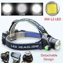 3800Lm CREE XML L2 LED Zoomable Headlight Headlamp Rechargeable Head Torch Lamp Hunting Camping Light For 18650 Battery