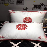 Chinese Style Double Happiness Red Wedding Pillows 2pc/Lot 100% Cotton feather velvet fillerEmbroidery Chinese Double XIPillow