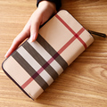 Women Genuine Leather Wallets Designer Plaid Long Clutches Purse Female Card Holder Coin Purse England Style Wallet Protefeuille