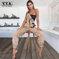 2019 New Arrival Summer Women Jumpsuit Fashion Solid Pocket Women Jumpsuit Casual Slim Fit Jumpsuits Streetwear Backless Rompers