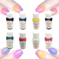 8 Colours Each 30ml Airbrush Painting Design Nail Art Airbrush Paint Ink Pigment Set for Hand Stencils Spray Gun Accessories