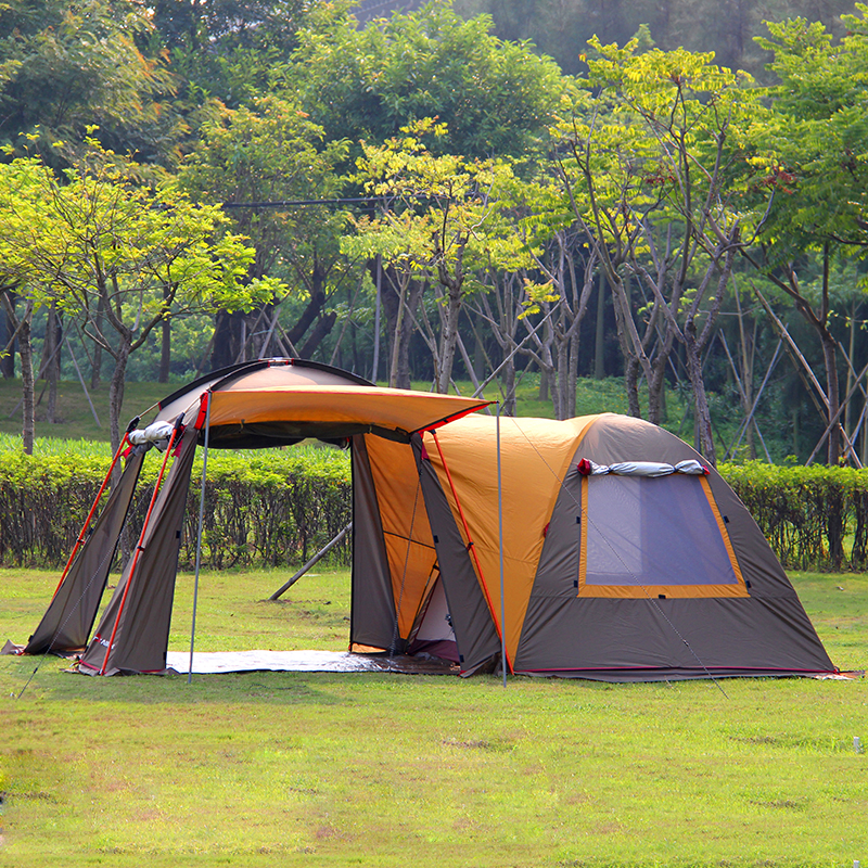 Ultralarge 5-8 Person One Hall One Bedroom Double Layer Strong Waterproof Windproof Family Size Party Camping Tent Festival Tent trackman 5 8 person outdoor camping tent one room one hall family tent gazebo awnin beach tent sun shelter family tent